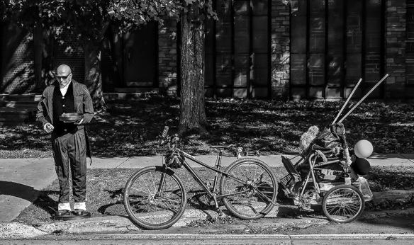 Bike and Bronze Man
